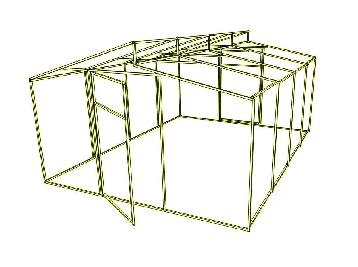 Каркас теплиці Мітлайдера (без полікарбонату) 500x800x250см